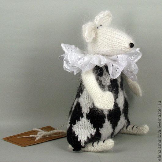 Игрушки животные, ручной работы. Ярмарка Мастеров - ручная работа. Купить Белый мышь. Handmade. Чёрно-белый, отличный подарок