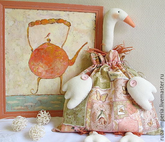 Куклы Тильды ручной работы. Ярмарка Мастеров - ручная работа. Купить Гусь-мешок (пакетница) Рaradise garden. Handmade.