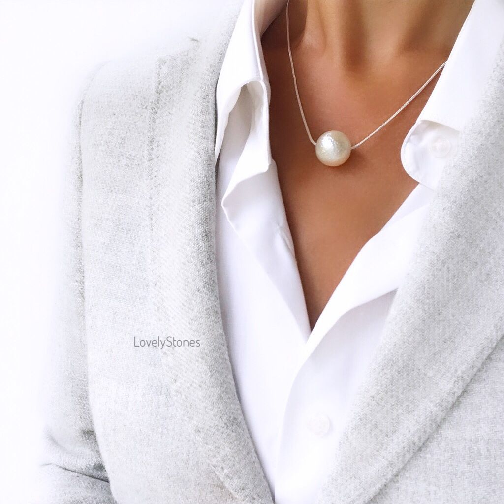 Necklace with a large milk bead on a chain around the neck to work in the office, Necklace, Yaroslavl,  Фото №1