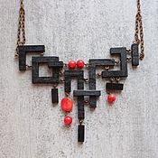 Necklace handmade. Livemaster - original item Necklace made of wood and coral Calligraphy. Handmade.