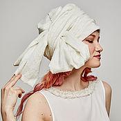 Аксессуары handmade. Livemaster - original item Convertible turban of white cotton with lurex. Handmade.
