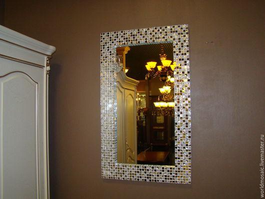 Зеркала ручной работы. Ярмарка Мастеров - ручная работа. Купить Зеркало в мозаичной раме, прямоугольное. Handmade. Серебряный, шедевр, стекло
