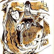 Картины и панно ручной работы. Ярмарка Мастеров - ручная работа графика нефтью. Handmade.