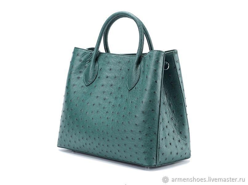 Женская сумка - шоппер, из кожи страуса, в зелёном цвете, Сумки, Тосно, Фото №1