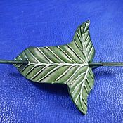 Украшения handmade. Livemaster - original item Barrette leather Elven leaf. Handmade.