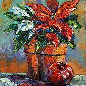 Картины и панно handmade. Livemaster - original item Oil painting Christmas flower Poinsettia. Handmade.