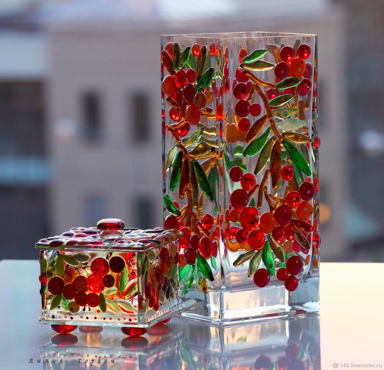 florero de vidrio con decoración de fyuzinga Ryabinushka – compra u ...
