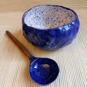 """Посуда ручной работы. Ярмарка Мастеров - ручная работа Керамический набор """"супница и ложка - Звёздное небо"""". Handmade."""