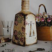 Посуда ручной работы. Ярмарка Мастеров - ручная работа Бутылка Декоративная Винтажная Декупаж Шебби. Handmade.