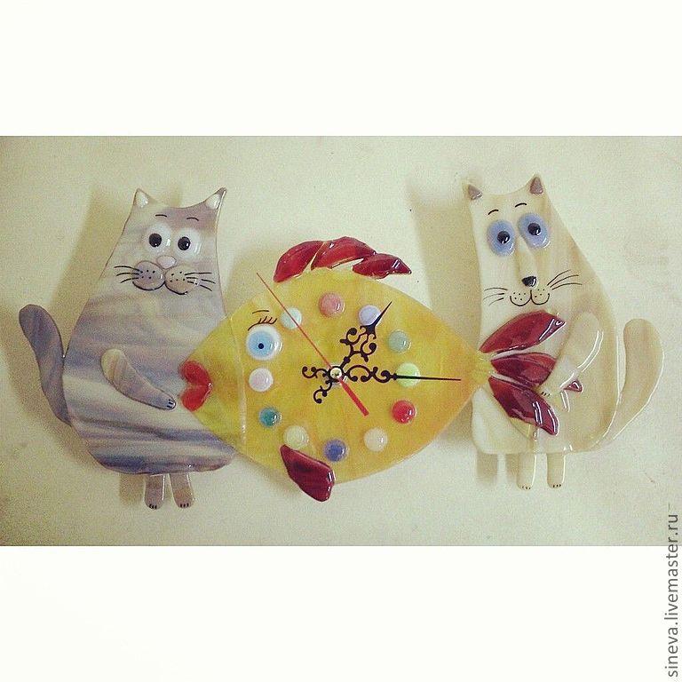 Часы Коты и Рыба, Часы классические, Саратов,  Фото №1