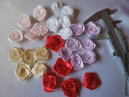 Другие виды рукоделия ручной работы. Ярмарка Мастеров - ручная работа. Купить Розочки из лент 3,5 см. Handmade.