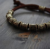 Украшения handmade. Livemaster - original item Bracelets with runes ,leather bracelet with runes. Handmade.