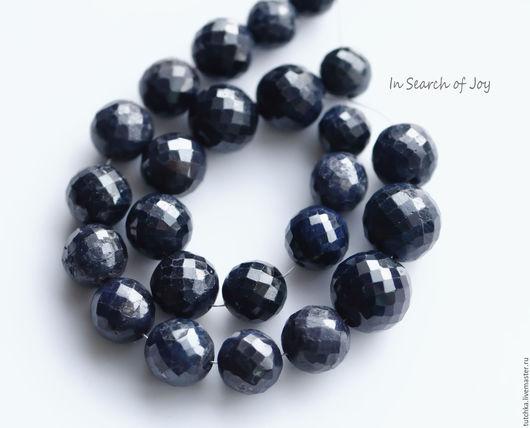 Для украшений ручной работы. Ярмарка Мастеров - ручная работа. Купить Синий сапфир граненый шар 8-12мм. Handmade.
