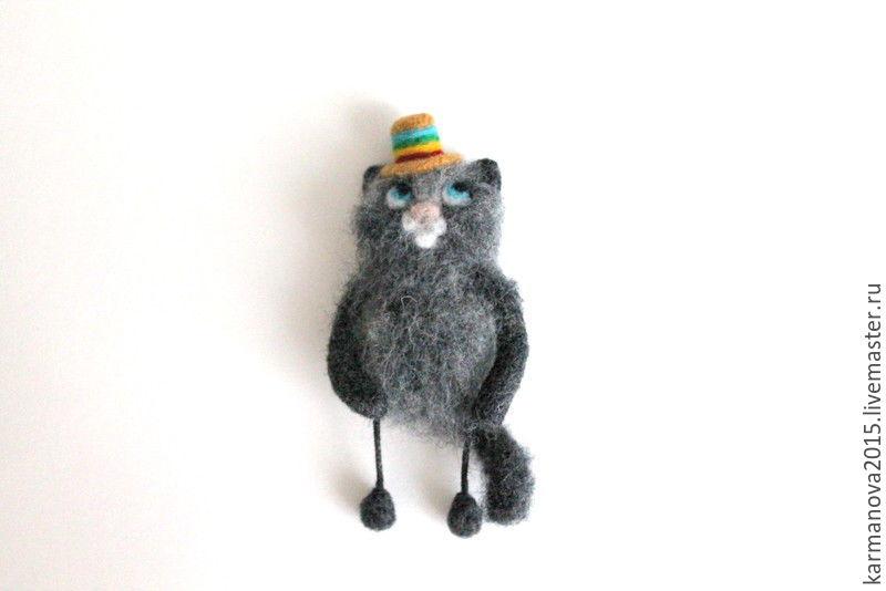 Магнит на холодильник Кот Мексиканец. Серый кот. Радуга. Цветное настроение. Броши ручной работы. Войлочные броши ручной работы. Ярмарка Мастеров - ручная работа. Купить брошь `Кот` (серый). Handmade.
