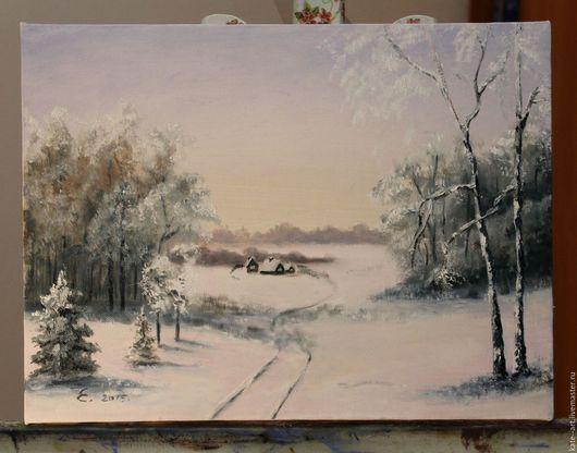 Пейзаж ручной работы. Ярмарка Мастеров - ручная работа. Купить Зимний пейзаж. Handmade. Белый, картина в подарок, Снег