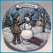 Картины и панно ручной работы. Ярмарка Мастеров - ручная работа Друг из снега. Handmade.