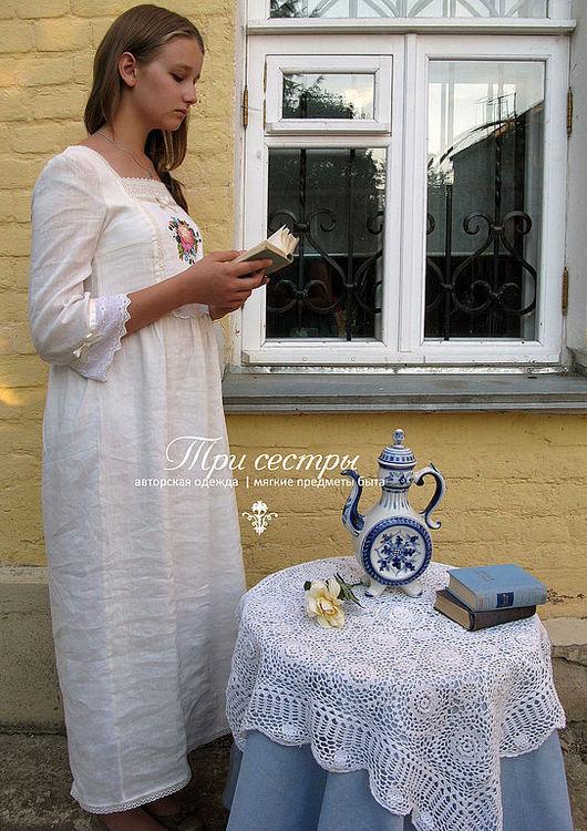 """Платья ручной работы. Ярмарка Мастеров - ручная работа. Купить Платье """"С пионом"""". Handmade. Молочный, платье с вышивкой"""