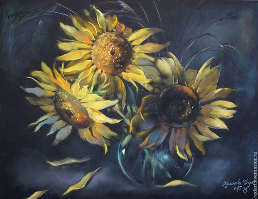 Картины цветов ручной работы. Ярмарка Мастеров - ручная работа. Купить Подсолнухи.. Handmade. Желтый, подсолнухи, цветы, ваза с цветами