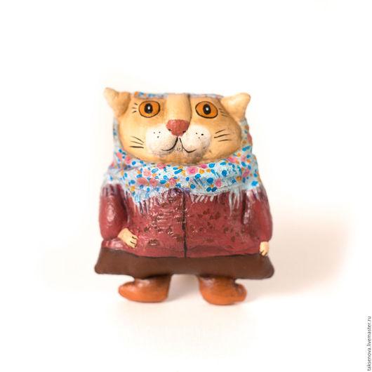 Игрушки животные, ручной работы. Ярмарка Мастеров - ручная работа. Купить Текстильная игрушка Деревенская кошка Луша. Handmade. Бордовый