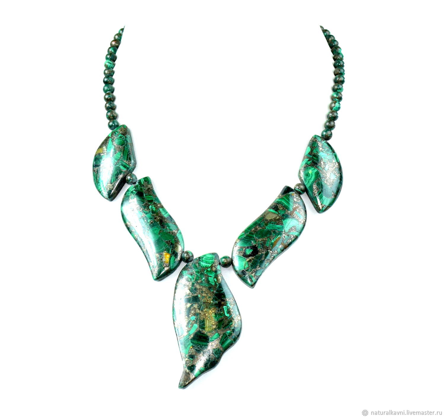 Necklace made of natural malachite in pyrite, Necklace, Moscow,  Фото №1