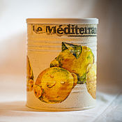 Для дома и интерьера handmade. Livemaster - original item Jar decoupage Lemons. Handmade.