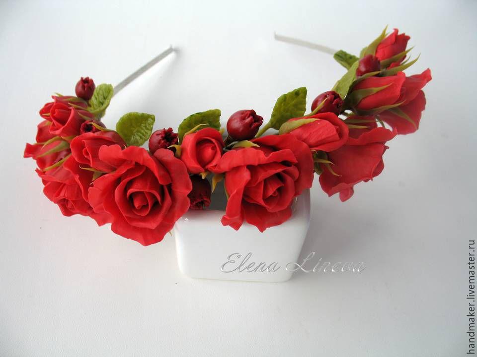 Ободок с алыми розами и бутонами из холодного фарфора, Ободки, Нижний Тагил,  Фото №1