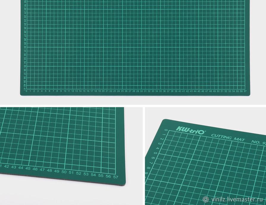 Самовосстанавливающийся непрорезаемый коврик (мат) для резки с метрической разметкой формата А2.  Предназначен для удобного и безопасного раскроя ткани, бумаги, пленки и других материалов.