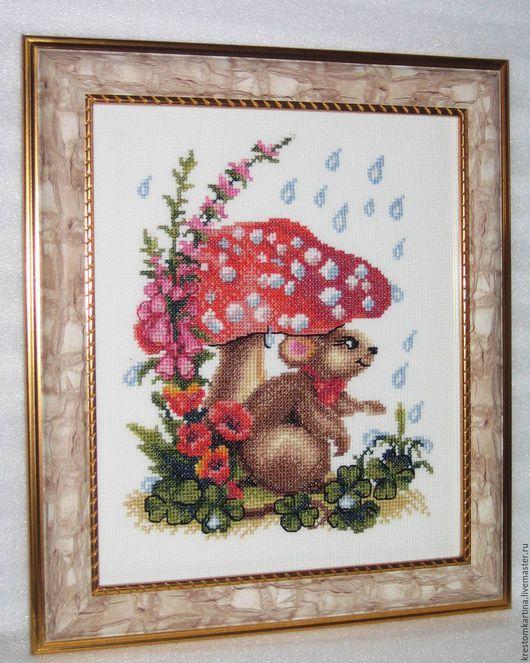 """Фэнтези ручной работы. Ярмарка Мастеров - ручная работа. Купить Вышитая картина""""Хитрый мышонок"""". Handmade. Комбинированный, картина в подарок"""