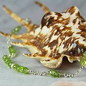 Украшения handmade. Livemaster - original item chain bracelet with chrysolite (peridot)