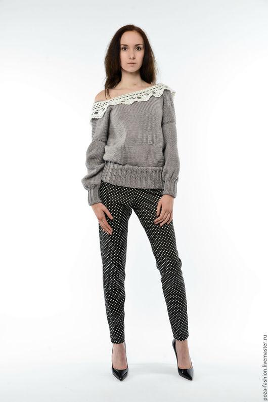 Кофты и свитера ручной работы. Ярмарка Мастеров - ручная работа. Купить Серый свитер с ажурным воротничком. Handmade. Серый