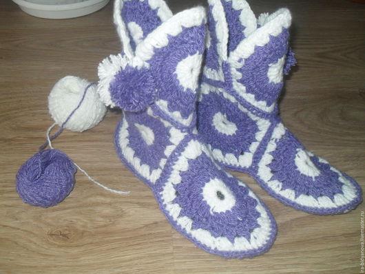 Обувь ручной работы. Ярмарка Мастеров - ручная работа. Купить Домашние сапожки. Handmade. Домашние сапожки, Вязание крючком