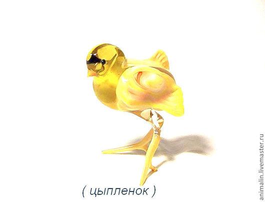 Статуэтки ручной работы. Ярмарка Мастеров - ручная работа. Купить Стеклянная фигурка цыплёнок. Handmade. Желтый, цыплята, курочка