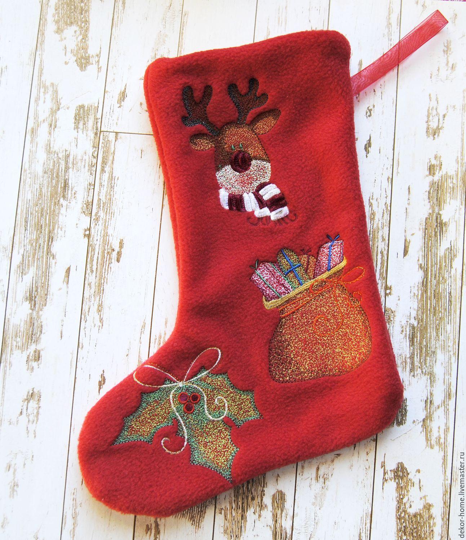 New Year S Boot Christmas Deer Zakazat Na Yarmarke Masterov Aw0rvcom Novogodnij Nosok Moscow