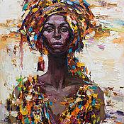 Картины ручной работы. Ярмарка Мастеров - ручная работа `Африканка #4` . Картина маслом 70-90 см. Handmade.