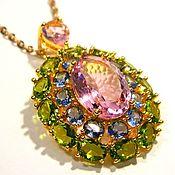 Украшения handmade. Livemaster - original item Pendant Peridot, pink Kunzite, Tanzanite quartz.. Handmade.