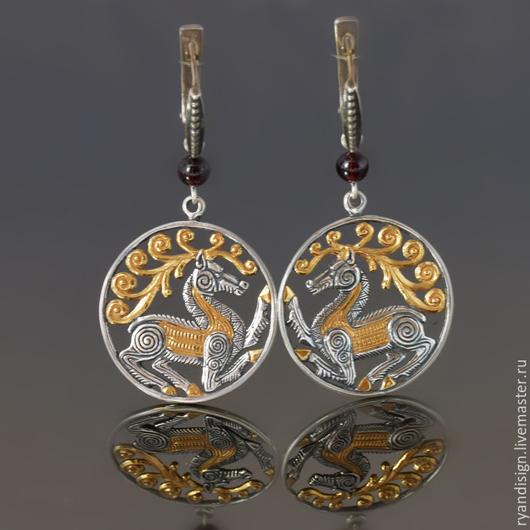 Серьги из серебра с позолотой `Скифские Олени`