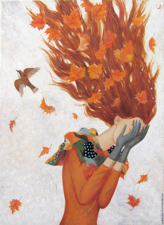 Символизм ручной работы. Ярмарка Мастеров - ручная работа. Купить Осень плачет (малый вариант). Handmade. Рыжий, плачет, птица