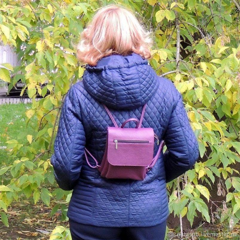 Backpack small leather female purple Kira Mod R64-181, Backpacks, St. Petersburg,  Фото №1