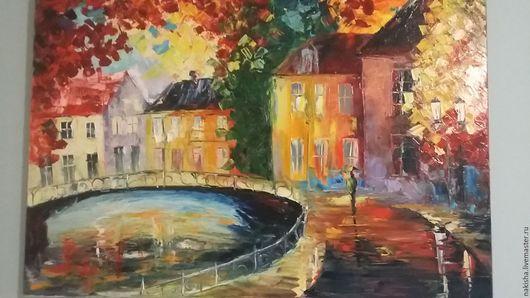 Город ручной работы. Ярмарка Мастеров - ручная работа. Купить Картина маслом холст 60х80. Handmade. Город, оранжевый, осень