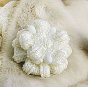 Украшения handmade. Livemaster - original item Flower brooch knitted white Winter bride. Handmade.