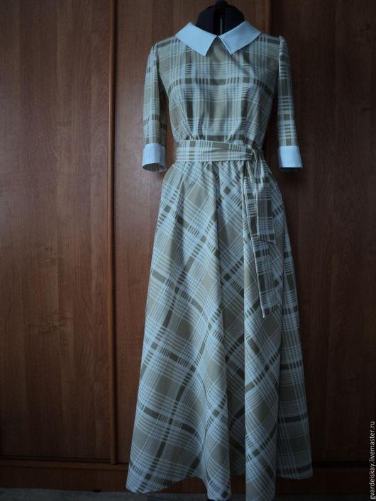Платья ручной работы. Ярмарка Мастеров - ручная работа. Купить Платье хлопковое в клетку. Handmade. Коричневый, платье, женское платье