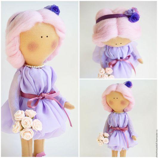 Коллекционные куклы ручной работы. Ярмарка Мастеров - ручная работа. Купить Интерьерная текстильная кукла. Handmade. Бледно-сиреневый, тильда