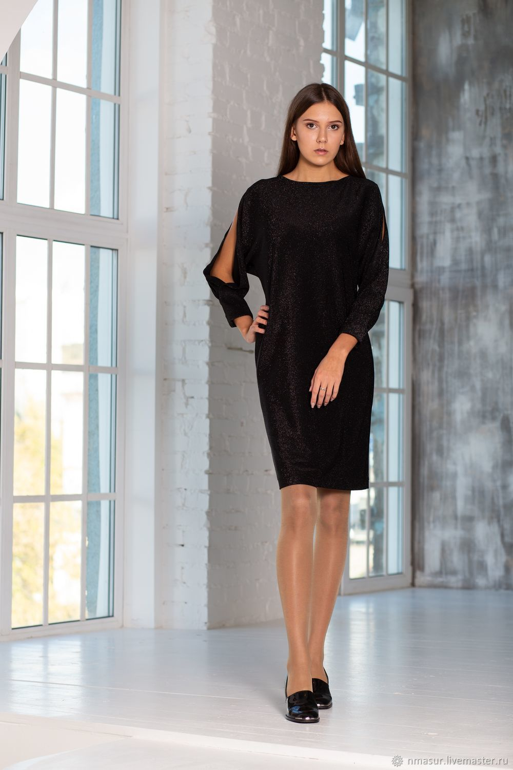 Knitted dress with slits on sleeves, Dresses, Novosibirsk,  Фото №1