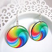 Украшения handmade. Livemaster - original item Transparent Earrings Rainbow Epoxy Resin Pink Green White Boho 2. Handmade.