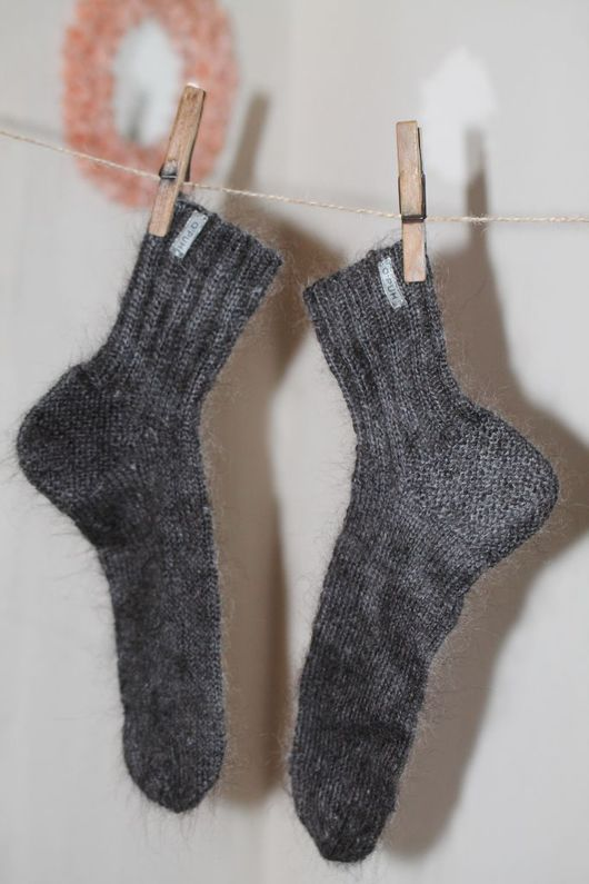 Носки, Чулки ручной работы. Ярмарка Мастеров - ручная работа. Купить Носки вязаные ручной работы из козьего пуха. Handmade.