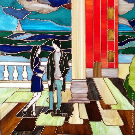 Элементы интерьера ручной работы. Ярмарка Мастеров - ручная работа. Купить Венеция. Handmade. Синий, витраж, медная фольга