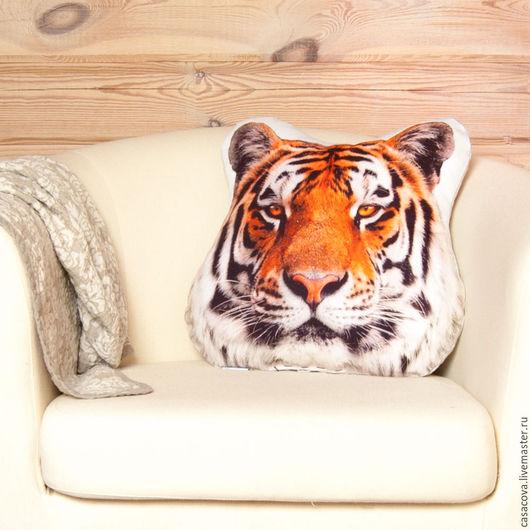 Персональные подарки ручной работы. Ярмарка Мастеров - ручная работа. Купить Декоративная интерьерная подушка «Тигр» из натурального льна. Handmade.