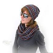 Аксессуары handmade. Livemaster - original item Set hat and Snood Jersey, plaid, autumn, winter. Handmade.