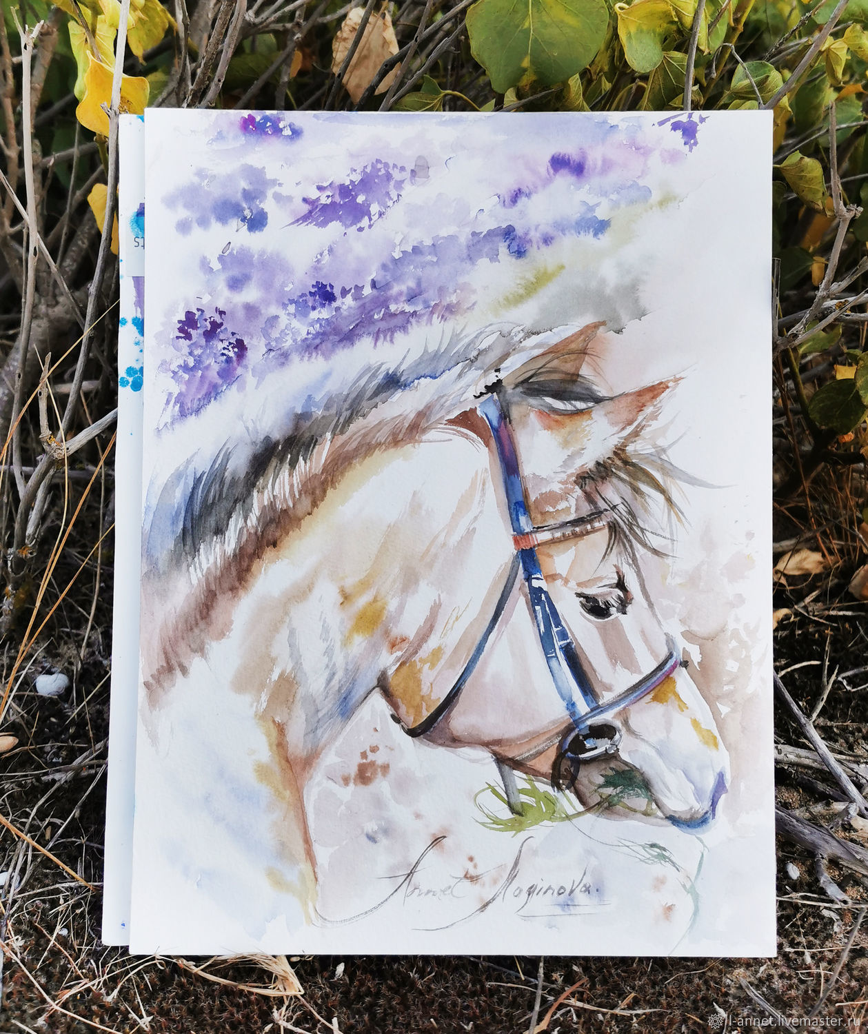 Lavender horse, watercolor painting, Pictures, Moscow,  Фото №1