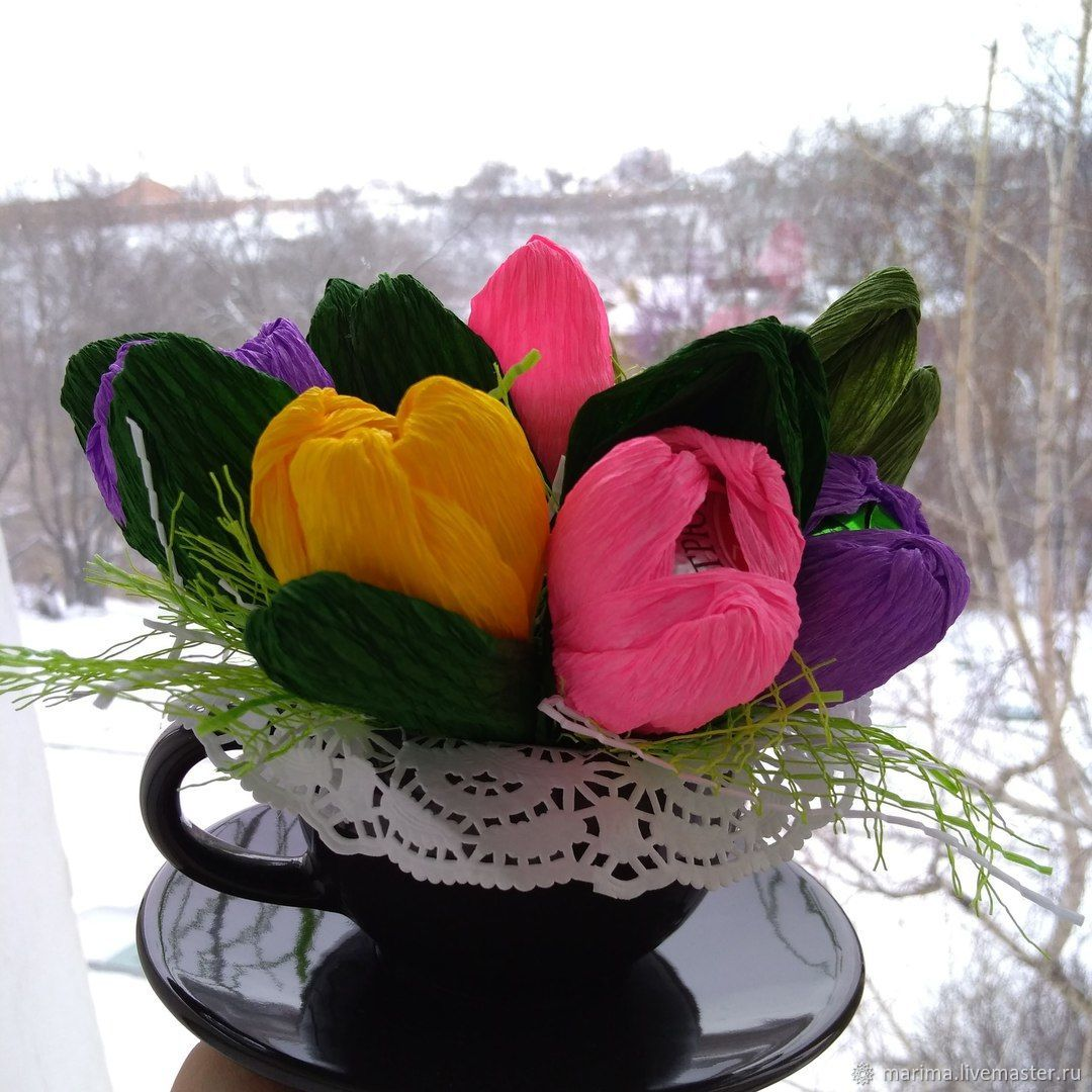 A candy bouquet in a mug – shop online on Livemaster with shipping ...